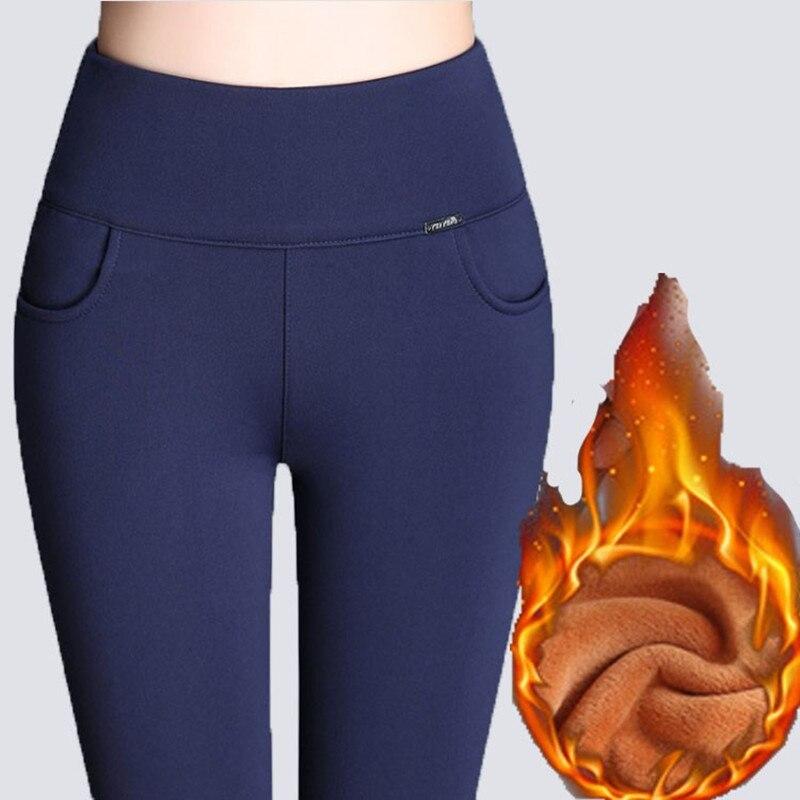 WKOUD Inverno Leggings Mulheres Plus Size Cintura Alta Estiramento Grosso Sólida Legging Skinny Calças Lápis Senhora Calças de Veludo Quente P8667