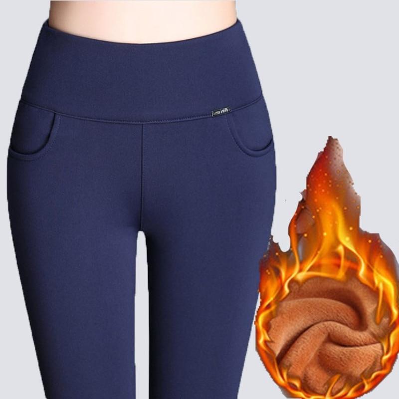 WKOUD Winter   Leggings   Women Plus Size High Waist Stretch Thick   Legging   Solid Skinny Warm Velvet Pencil Pants Lady Trousers P8667