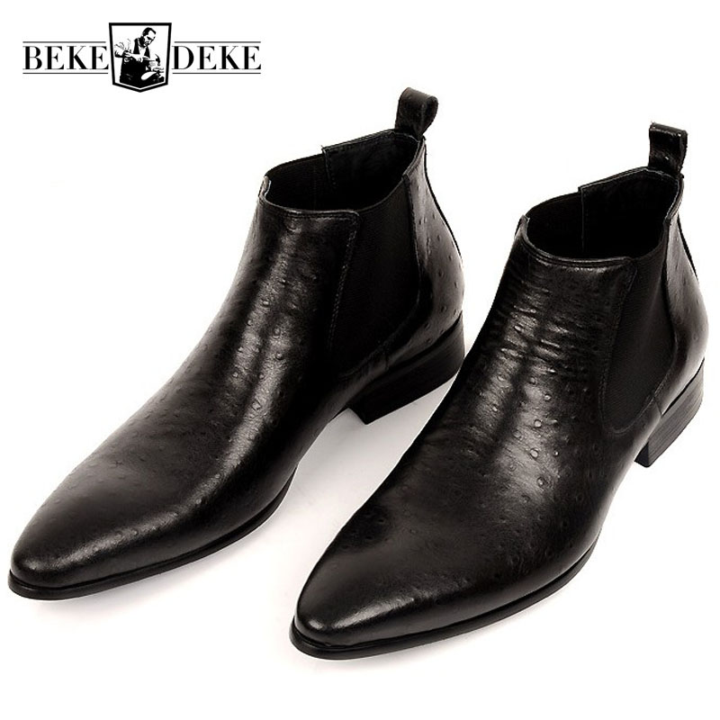 Brand Fashion Mens Ankle Boots Genuine Leather Comfortable Brown Black Pointed Toe Wedding Men Dress Shoes
