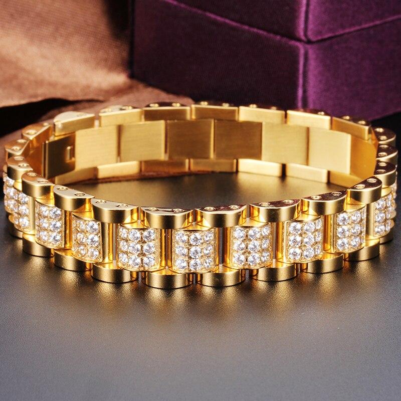 New Trendy 18k Italian Gold Cubic Zirconia Crystal Arabic Bracelets Men Jewelry Stainless Steel Thick Cuban Link Chain In