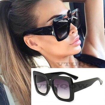 3cf96dc68f Cuadrado de lujo gafas de sol mujer marca diseñador 2019 negro de gran  tamaño gafas Vintage