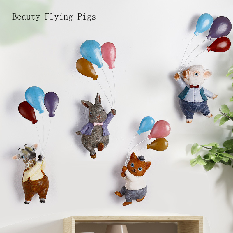 1 Pcs Nordic garden resin wall cartoon animal home decorations flying balloons cute small fresh living room room wall pendant(China)