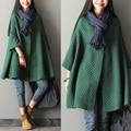 Clearance - 2015 outono fêmea nova chegada qualidade 100% algodão manga batwing médio longo plus size trincheira