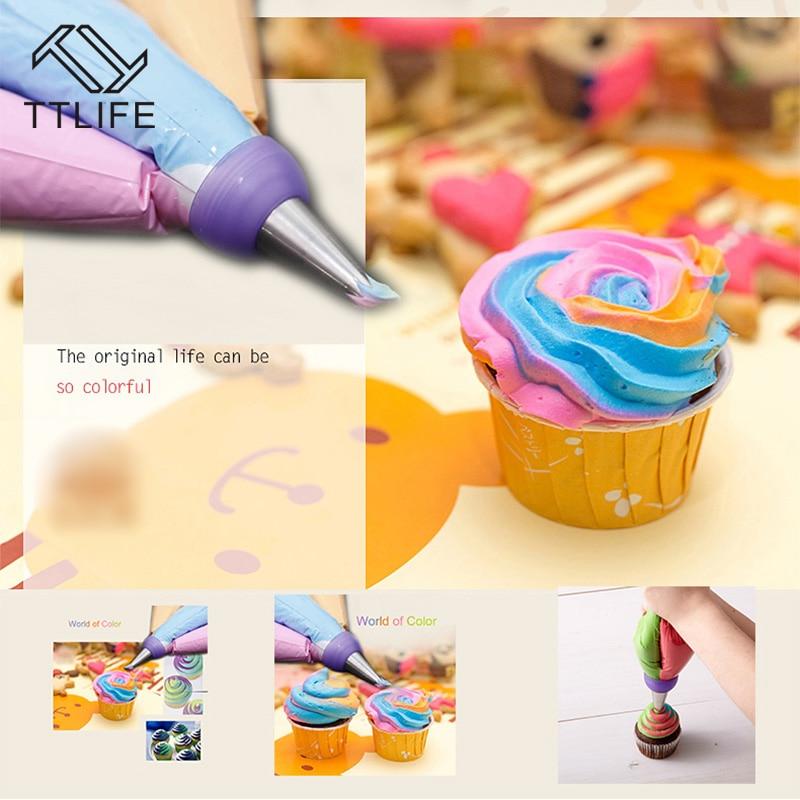 Ttlife 3 Agujero 3 color icing piping bag botella convertidor tri-color  Cream coupler cake decoración Herramientas Cupcake fondant galleta e556653ddb7