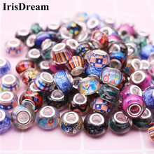 hot deal buy 20pcs 14mm big round loose resin murano glass spacer beads charms fit for pandora bracelet oysters with pearls jewelry