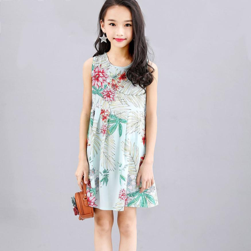 summer kids dresses for girls Princess Sleeveless flower Floral print Party child dress Outfits clothes for girls 5 years girls dresses fruit design pineapple orange dress summer kids clothes flower print for kids age 5678910 11 12 13 14 years old