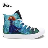 Wen Men Vulcanize Shoes Hand Painted Canvas Sneakers Women Top High Plimsolls Custom Design Brave Princess Platform Laced Flat