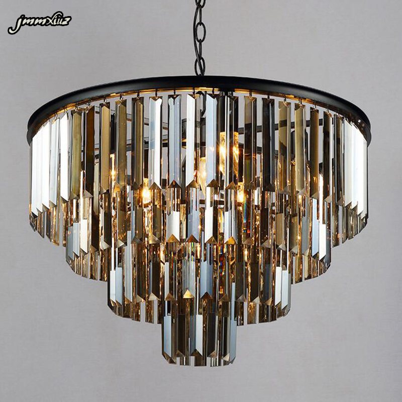 jmmxiuz Modern Crystal Chandelier Elegant K9 crystal Smoky Gray Crystal Suspension Lamparas for Cafe Restaurant Hotel