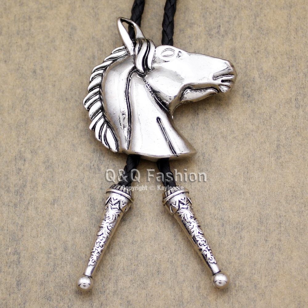 Vintage Silver Bronco Horse Head Line Dance Rodeo Southwestern Cowboy  Bolo Tie Jewelry Men Gift