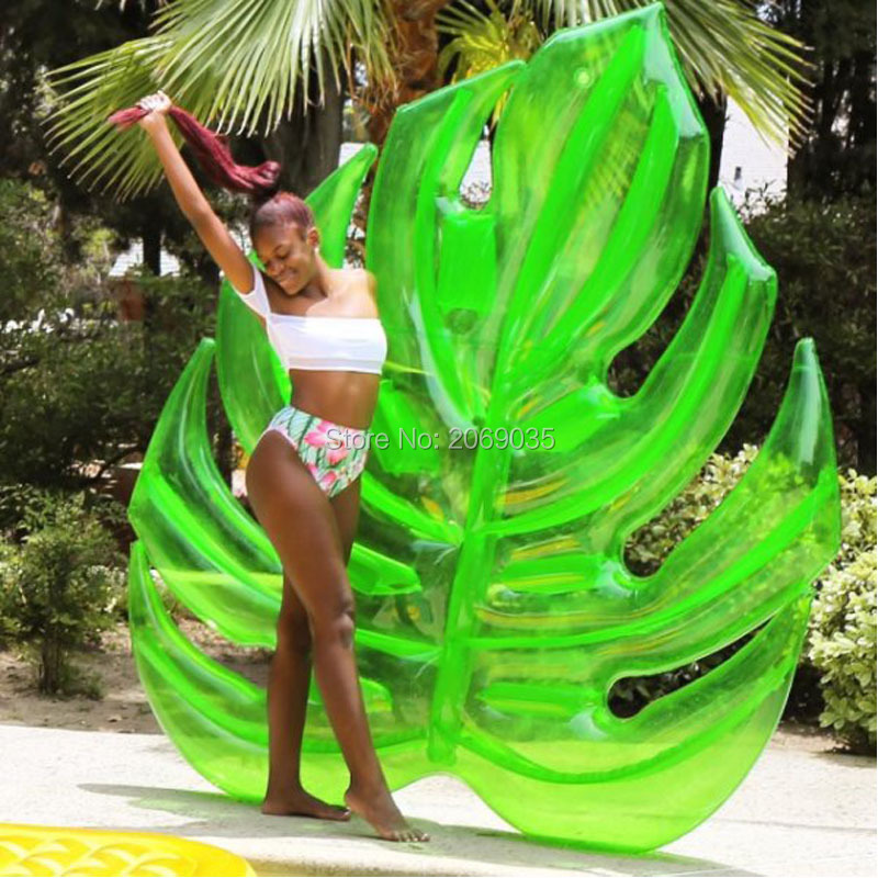 180*160cm Giant Inflatable Green Leaf Pool Raft Lounge Foliage Floats Water Toys Ride-On Swimming Ring For Adult Children Party 1 6m giant crab ride on pool floats summer swimming party children fun water toy kickboard for 2 children