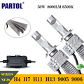 Partol 50W 8000LM CSP LED Headlights H4 H7 H11 H13 9005 9006 Car LED Headlight Bulb Hi-Lo Single Beam Auto Front Lamp 6500K
