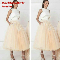 Prom Dresses 2017 New Arrival Tea Length Organza Two Colors Ball Gown Appliques Party Dress