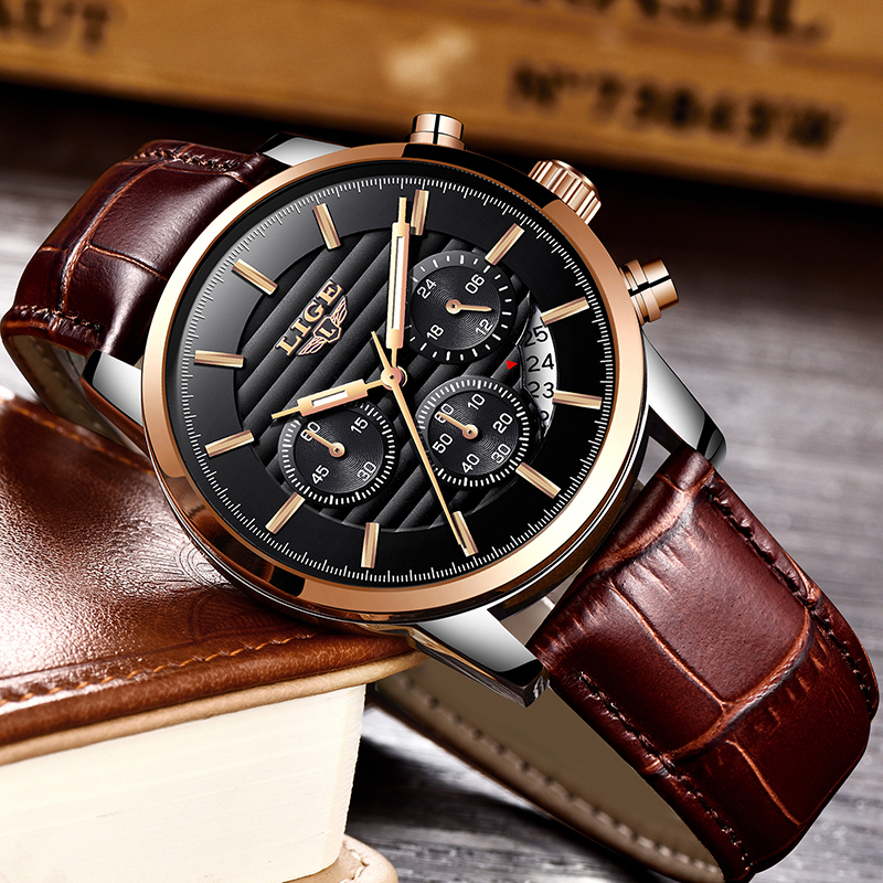 все цены на LIGE Top Luxury Brand Watch Men Fashion Quartz Sports Watch Men's Casual Leather Waterproof Business Watches Relogio Masculino