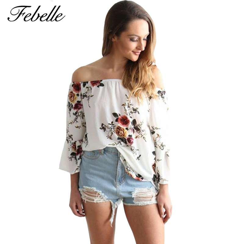 Febelle Off Shoulder Top Women Chiffon Blouse Floral Print