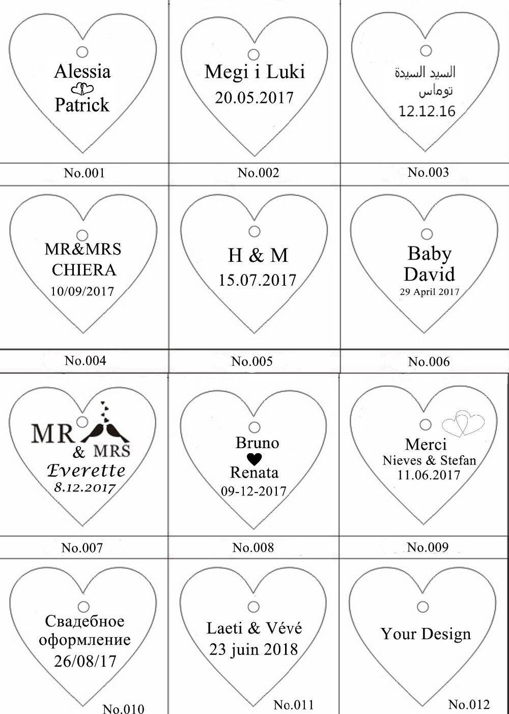 50/100 unids personalizado Mr & Mrs Mirror Love Heart Favores de boda - Para fiestas y celebraciones - foto 3