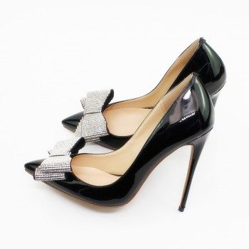 Woman Patent Leather Black Stiletto Heels Office Lady Formal Dress Pumps New Fashion Sexy 8.5cm Heel Shoes With Bow C025C