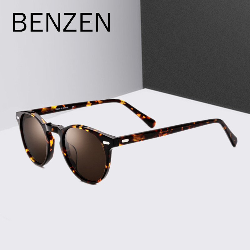 BENZEN Handmade Polarized Sunglasses Women Brand Designer Acetate Female Sun Glasses For Driving Men Shades Black With Case 6582 afofoo polarized sunglasses brand designer vintage square men driving mirror sun glasses high quality women retro uv400 shades