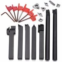 7pcs 12mm Shank Lathe Turning Tool Holder Boring Bar 7pcs Carbide PVD Inserts Set 7pcs Wrenches