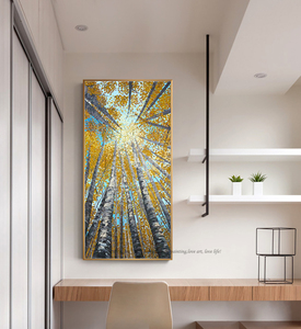 Image 3 - Large Vertical modern painting decorative pictures abstract art acrylic landscape painting canvas pictures for living room wall