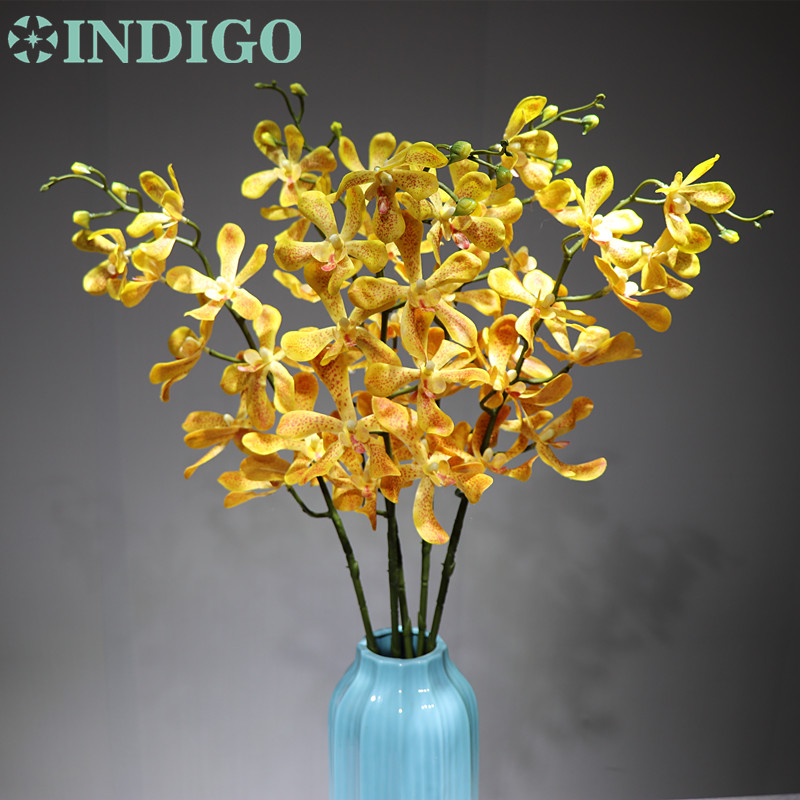 INDIGO Yellow Wanda Orchids Phalaenopsis Orchids Real Touch Flower Decorative Wedding Flower Orchid Floral Party Free S in Artificial Dried Flowers from Home Garden