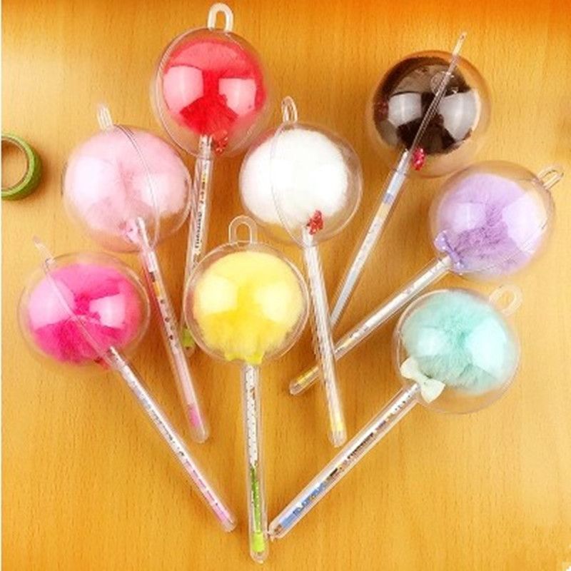 Japan and South Korea Style Creative Cute Colorful Fur Plush Ball Gel Pen Ball Top Pen 0.5mm Black School Supplies Candy Color 10 pcs lot new creative korea and japan stationery cute stamping cartoon diamond gel pen black ink sign pen free shipping