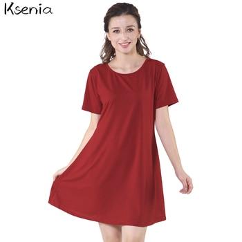 Ksenia 2017 fashion summer dress solid loose women dress casual plus size s 2xl multi color.jpg 350x350