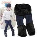 Nueva primavera invierno fur leggings para niñas niños pantalones de los niños gruesa caliente elástico de la cintura, además de terciopelo leggings pantalones niños envío tamaño
