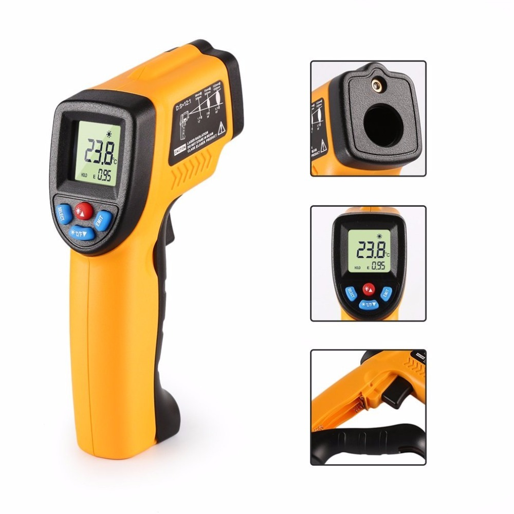 Non-Contact Digital LCD Laser Infrared IR Thermometer Gun Point -50~380 Degree Pyrometer Aquarium Temperature Meter