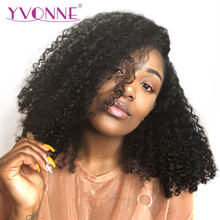 YVONNE 13x4 Malaysian Curly Short BOB Human Hair Wigs For Black Women Natural Color Virgin Lace Front Wigs(China)