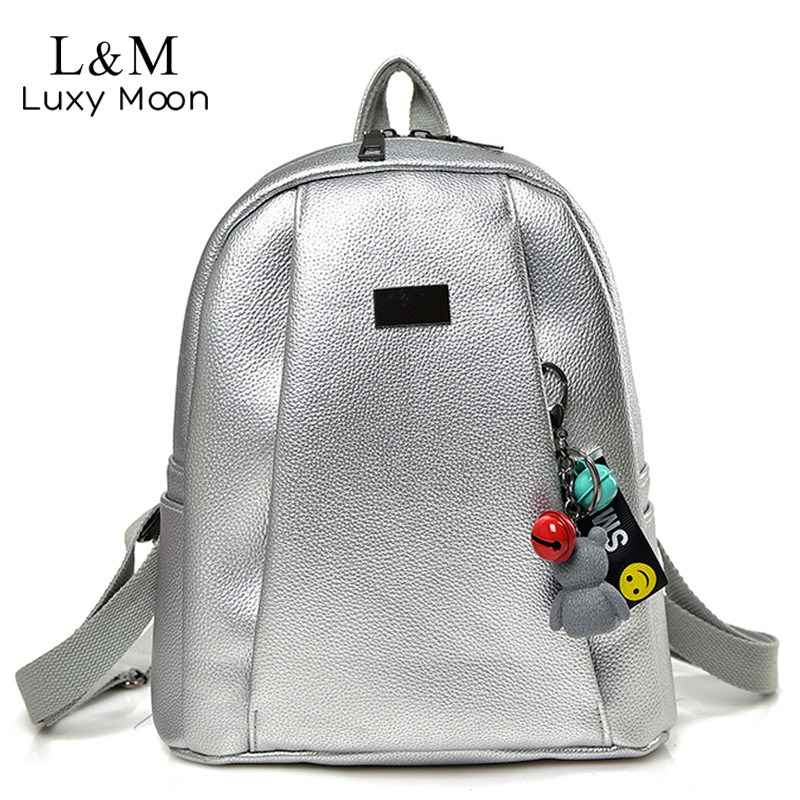 Luxy moon PU Leather Backpack Women Silver Vintage Travel Bag For Female Teenage Girls School Bag Solid Backpacks mochila XA377H children school bag minecraft cartoon backpack pupils printing school bags hot game backpacks for boys and girls mochila escolar