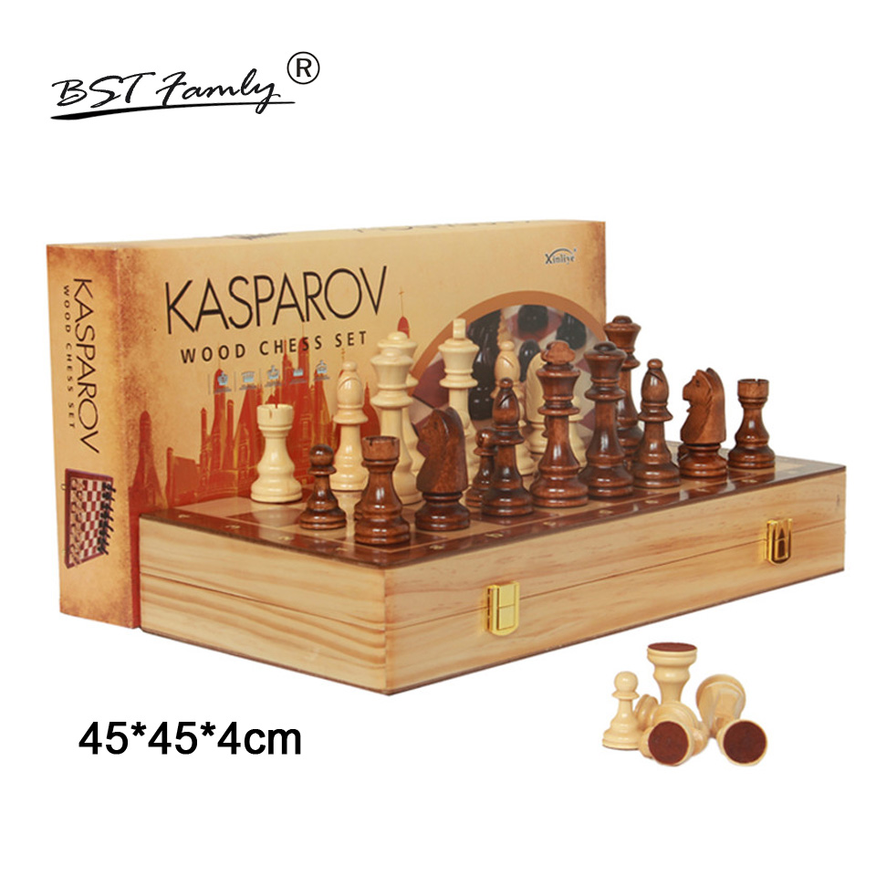 BSTFAMLY Wooden Chess Set International Chess Game High-grade Folding Chessboard Wooden Chessman Chess Pieces King H 105mm I37 bstfamly carving wooden chess set game portable game of international chess folding chessboard wood chess pieces chessman i13