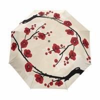 Full Automatic Umbrella Anti UV Protection Adults 3 Fold Women's Umbrella Chinese Umbrella Rain Sun Guarda Chuva Flower Bonecas