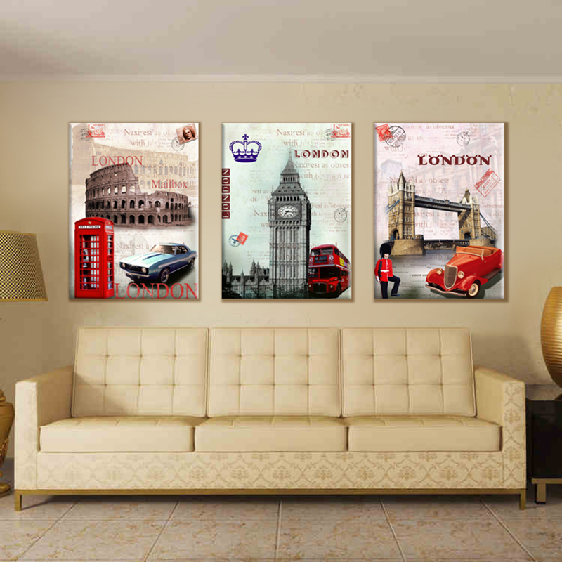 3 Pieces Wall Art Pictures Europe Style Modern PAINTINGS London - Home Decor