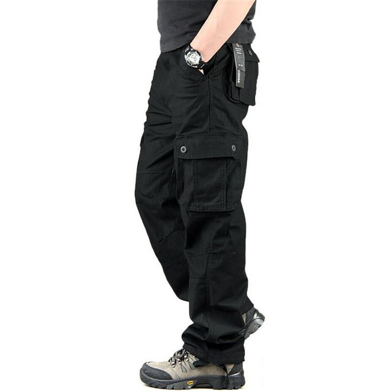 Men Cargo Pants Multi Pockets Military Tactical Pants Overalls Streetwear Army Straight Slacks Casual Trousers Pantalon Hombre(China)