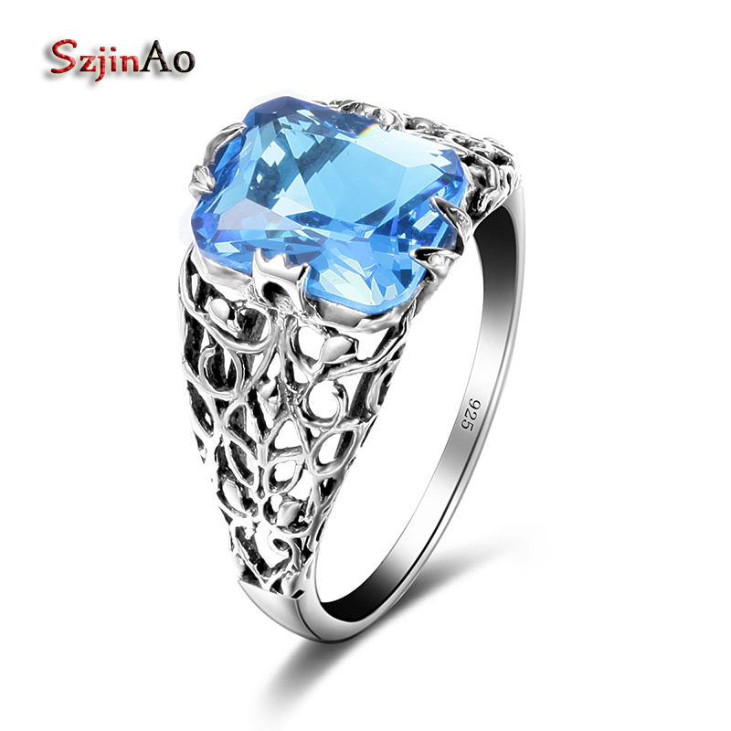 Szjinao Geometric 925 Sterling Silver Skull Rings For Women Vintage 100% Handmade Jewelry Luxury Aquamarine Accessories bijoux