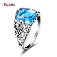 Szjinao Geometric 925 Sterling Silver Skull Rings For Women Vintage 100 Handmade Jewelry Luxury Aquamarine Accessories