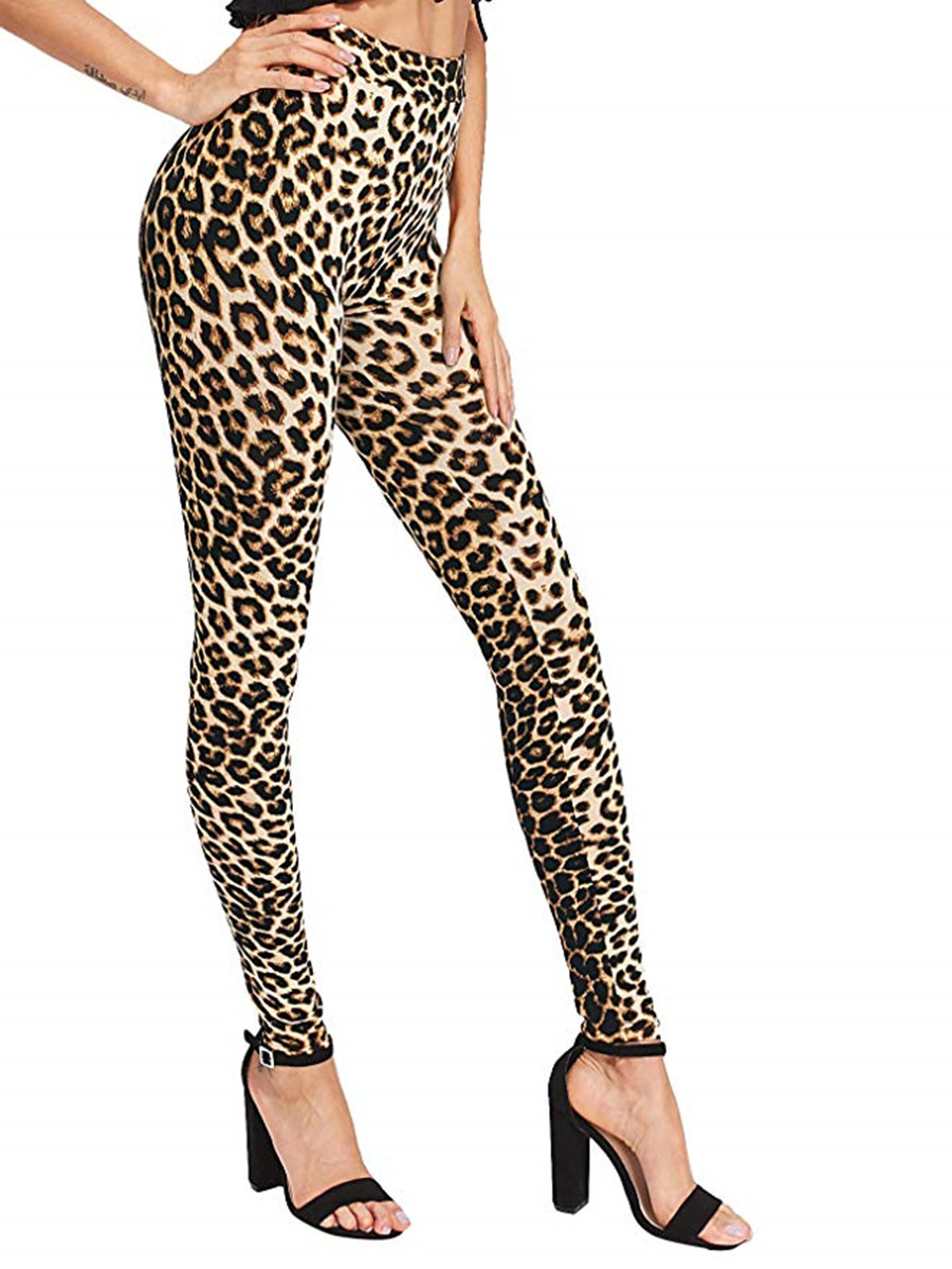 High Waist Leopard   Leggings   Women Print Skinny Pants High Elastic Stretch Pants leggins sexy fitness feminina