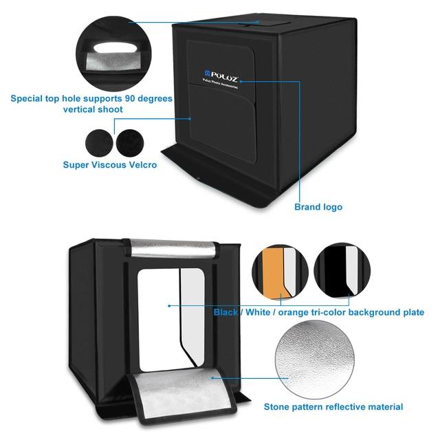 Puluz 16x16 Portable Photo Studio Lighting Mini Softbox Lightbox 30w Led Panel Light Box Photography