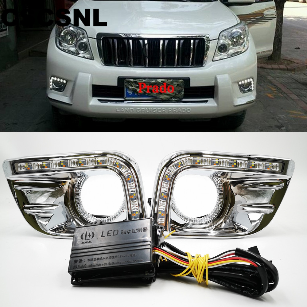 CSCSNL 1 set For Toyota Prado FJ150 LC150 2010 2011 2013  LED DRL Daytime Running Lights  with trunning Yellow Signal lights-in Car Light Assembly from Automobiles & Motorcycles    1