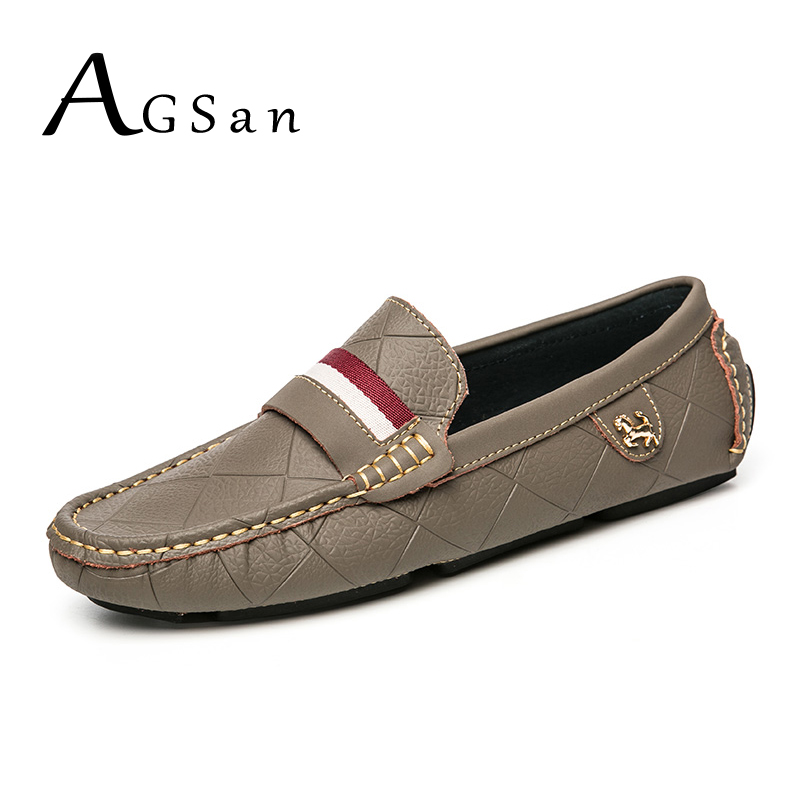 AGSan Luxury Brand Driving Shoes for Men Genuine Leather Men Loafers Mocasines Hombre High Quality Mens Flats Slip On Loafers wonzom high quality genuine leather brand men casual shoes fashion breathable comfort footwear for male slip on driving loafers