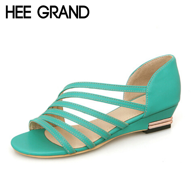 HEE GRAND Summer Gladiator Sandals 2017 NEW Rome Style Low Heels Wedges Women Pumps PU Leather Shoes Woman Size Plus XWZ110 hee grand women s wedges heel highs for 2017 summer cut outs love heart bottom pumps wedding shoes woman size 35 39 xwd401
