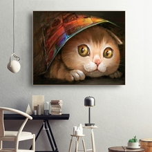 Laeacco Watercolor Cute Cat Wall Art Animal Posters and Prints Vintage Canvas Painting Nordic Home Decoration Living Room Decor