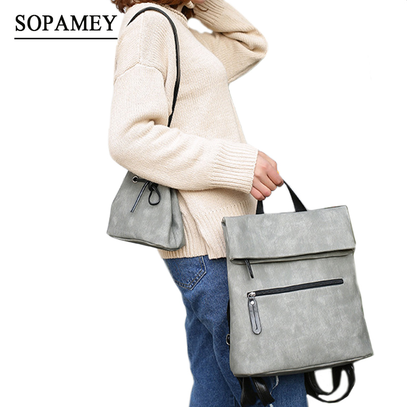 SOPAMEY New Fashion Designed Brand Backpack Women Backpack Leather School Bag For Teenager Women Casual Backpacks + Small Bags