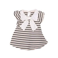 Baby Girl Dress Girl Summer Cotton Striped Bow Dress Infant Clothing 1 Year Birthday Dress for Kids Size 0-18M