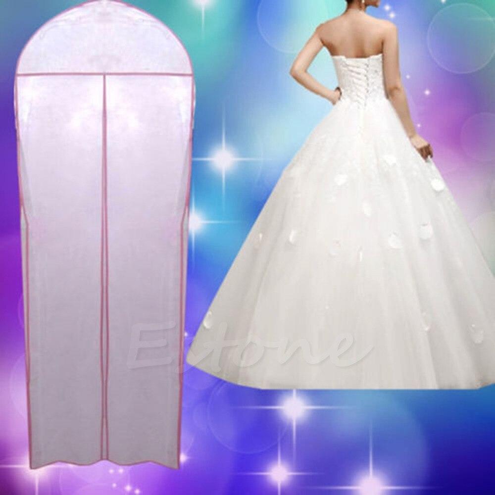 1pc Storage Bag Dustproof Hanger Breathable Wedding Prom Dress Gown Garment Dustproof Bag Clothes Cover