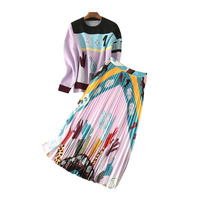 new 2017 qiu dong The European and American high end printing knitting wool coat + printed pleated skirts suits