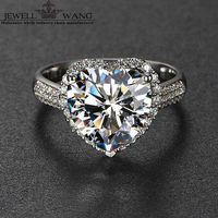 Jewellwang 18K White Gold Rings for Women Moissanites Engagement Ring 5.0ct Carat Luxury Certified Special Heart Prong Setting