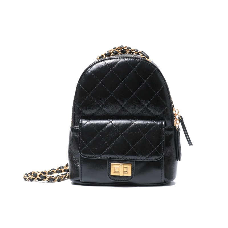 2019 Fashion Women Mini Pocket Backpacks Rucksack Bags Travel Shoulder Bag Black Beige  Diamond Lattice Cow Leather Chains Bag2019 Fashion Women Mini Pocket Backpacks Rucksack Bags Travel Shoulder Bag Black Beige  Diamond Lattice Cow Leather Chains Bag