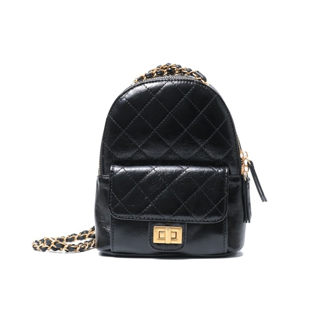 2019 Fashion Women Mini Pocket Backpacks Rucksack Bags Travel Shoulder Bag Black Beige  Diamond Lattice Cow Leather Chains Bag