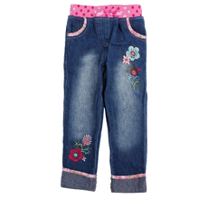 Nova brand kids wear baby clothing 2015 new design floral embroidery Fashion cowboy 2-6y baby girls pants retail